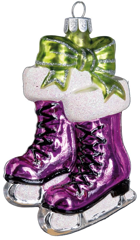Украшение для интерьера новогоднее Erich Krause Коньки с подарками, цвет: малиновый, 10 см38635_малиновыйЯркие и нарядные коньки выполнены из стекла.