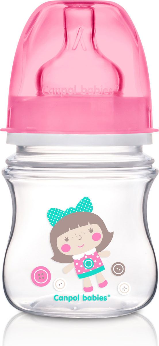 Canpol Babies Бутылочка EasyStart с широким горлышком антиколиковая от 0 месяцев цвет розовый 120 мл