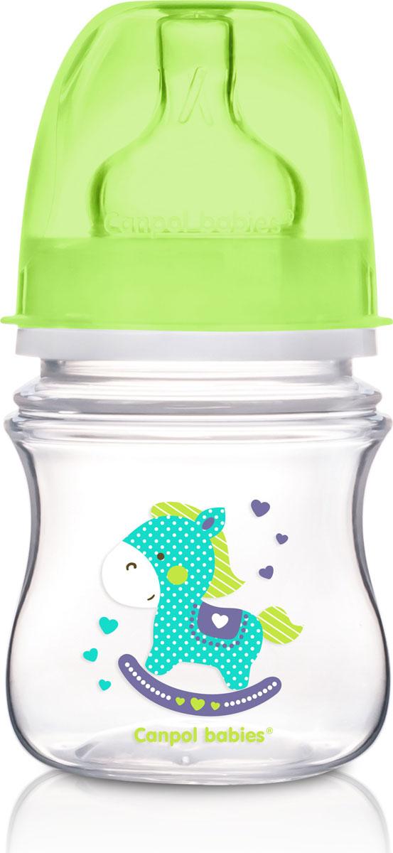Canpol Babies Бутылочка EasyStart с широким горлышком антиколиковая от 0 месяцев цвет зеленый 120 мл