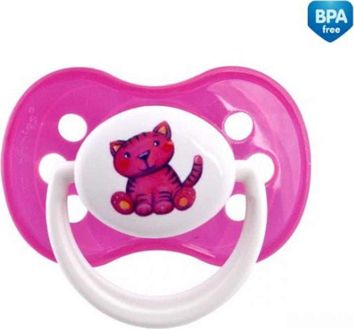 Canpol Babies Пустышка симметричная силиконовая Milky Котенок от 0 до 6 месяцев цвет розовый