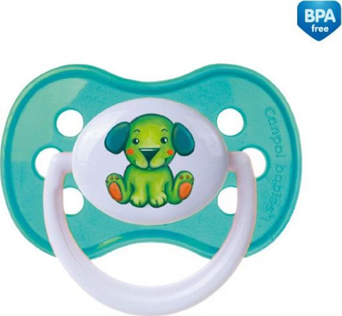 Canpol Babies Пустышка симметричная силиконовая Milky Собачка от 0 до 6 месяцев цвет зеленый