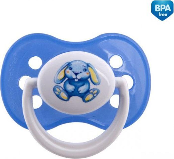 Canpol Babies Пустышка симметричная силиконовая Milky Зайка от 6 до 18 месяцев цвет голубой
