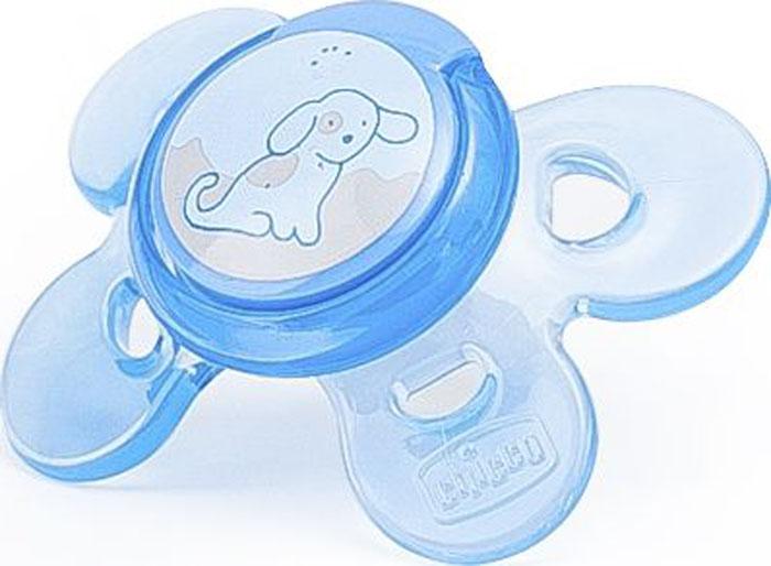 Chicco Пустышка силиконовая Physio Comfort Собачка от 0 до 6 месяцев цвет голубой