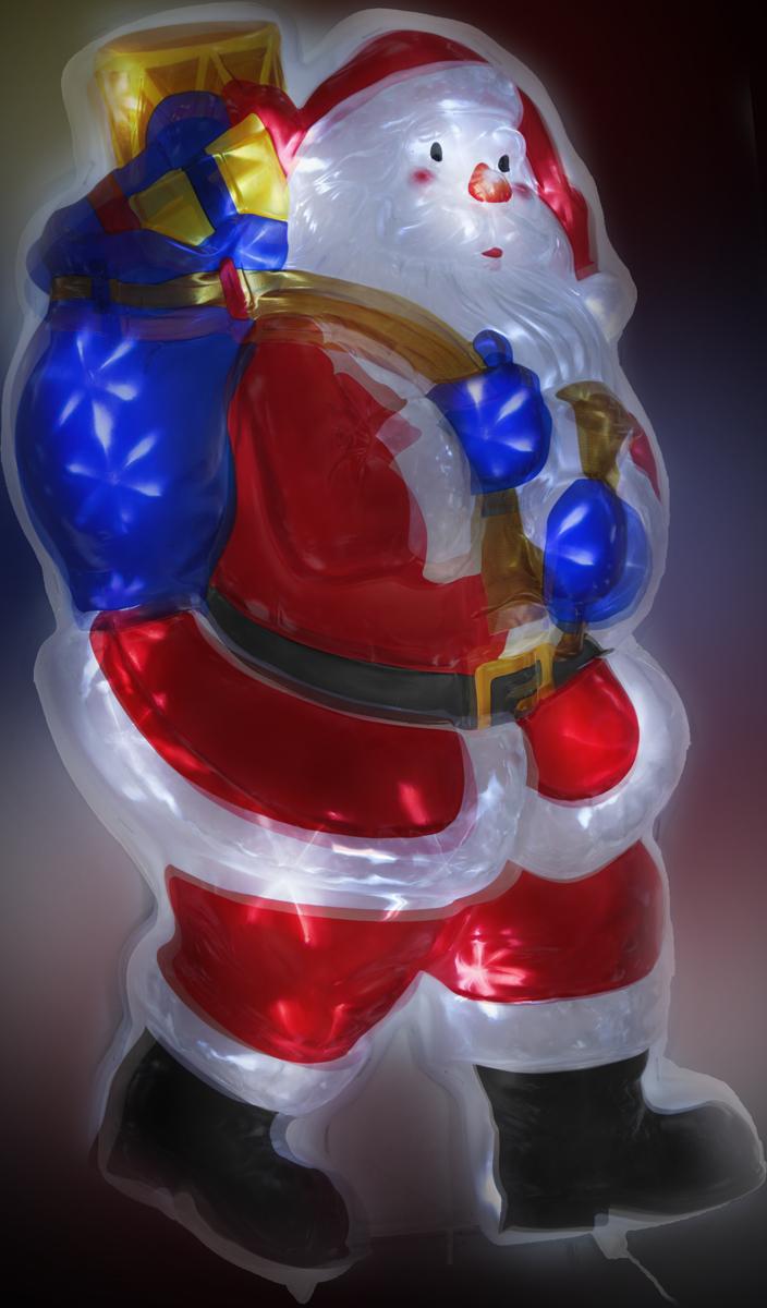 """Светодиодное панно """"Дед мороз с мешком мерцающий"""" сделано из рельефного цветного пластика. Мерцание фигуры достигается за счет преломления света электрогирлянды с белыми светодиодами (40 LED), расположенной внутри изделия, сквозь структуру рельефного пластика. С обратной стороны фигуры предусмотрена откидывающаяся подставка для устойчивой установки фигуры на земле. Наличие контроллера позволяет создавать 8 различных режимов работы. Применяется как внутри, так и снаружи помещений.  Длина сетевого шнура - 3 м. Размер - 70 х 40 см."""