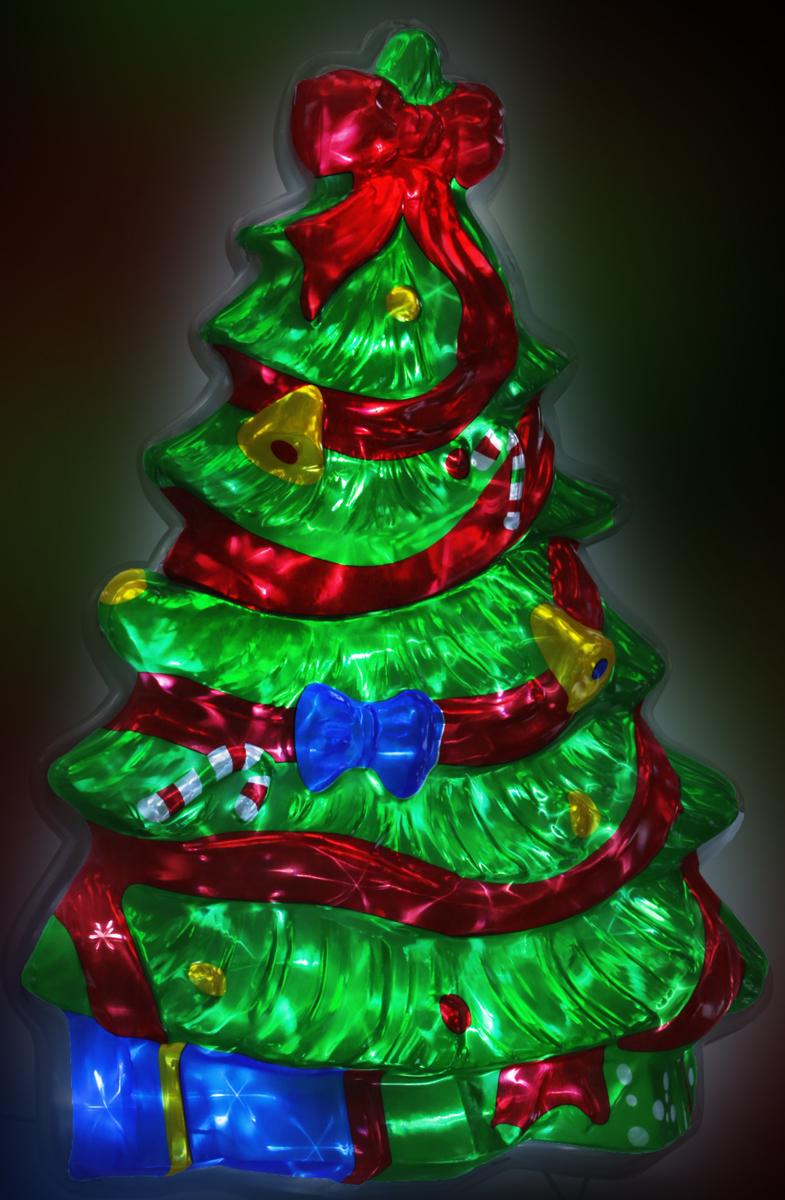 B&H Светодиодное панно Мерцающая елочка, цвет: холодный белый, 40 LED, 8 режимов, 65 х 40 смBH0706Светодиодное панно Мерцающая елочка выполнено из рельефного цветного пластика. Мерцание фигуры достигается за счет преломления света электрогирлянды с белыми светодиодами (40 LED), расположенной внутри елочки, сквозь структуру рельефного пластика. С обратной стороны фигуры предусмотрен крючок для ее подвешивания, а также откидывающаяся подставка для устойчивой установки фигуры на земле. Наличие контроллера позволяет создавать 8 различных режимов работы. Применяется как внутри, так и снаружи помещений.Длина сетевого шнура - 3 м. Размер - 65 х 40 х 6 см.