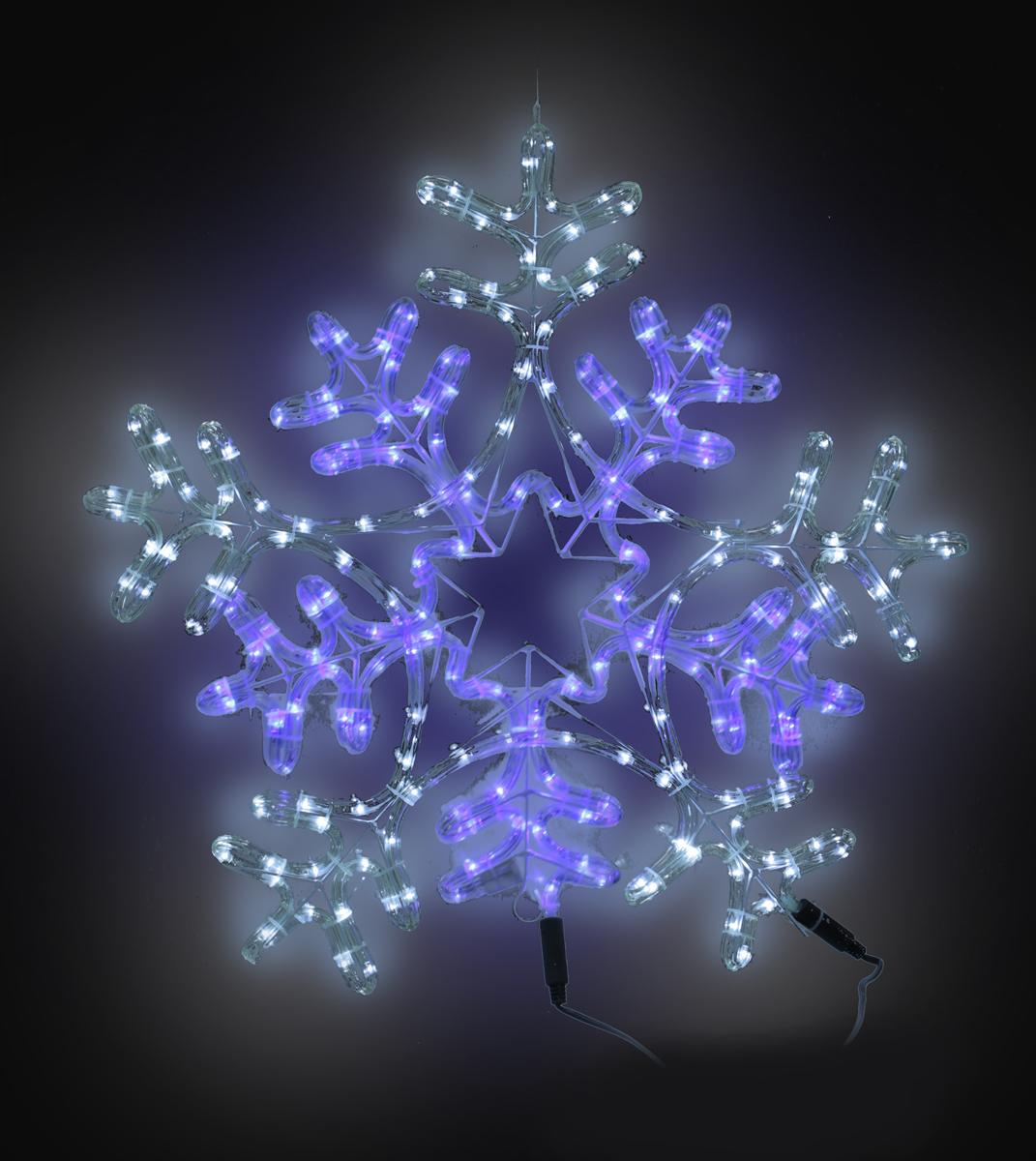 B&H Фигура светодиодная Снежинка сине-белая, цвет: белый, синий, 216 LED, 8 режимов, 62 х 62 смBH0701Светодиодная фигура Снежинка сине-белая выполнена из двух светодиодных шнуров - белого (120 LED) и синего (96 LED) цвета, закрепленных на металлическом каркасе с крючком для подвеса фигуры. Применяется как внутри, так и снаружи помещений. Наличие контроллера позволяет создавать 8 различных режимов работы.Длина сетевого шнура - 3 м. Размер - 62 х 62 см.