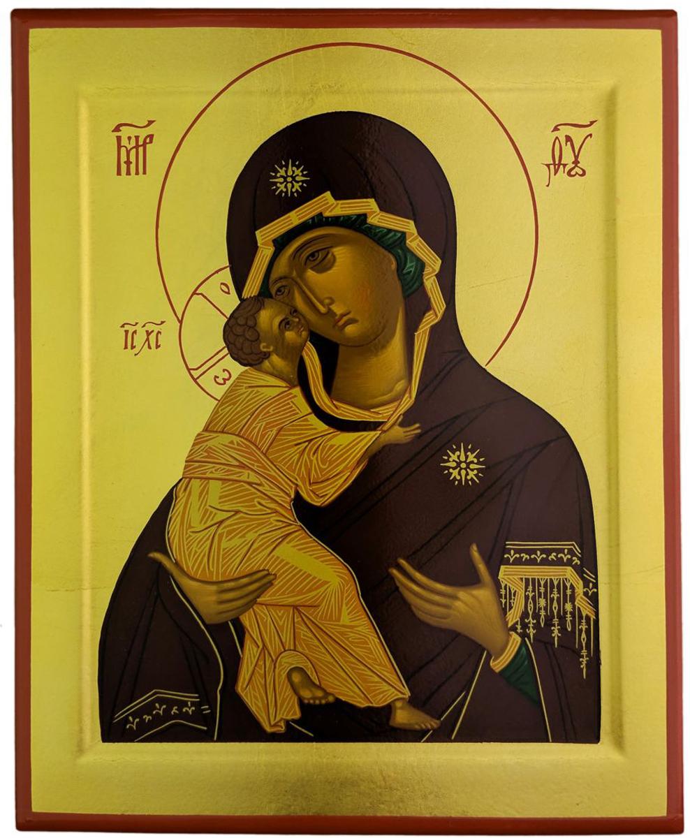 """Икона Platinum """"Богородица Владимирская"""" является аутентичной копией  известной средневековой иконы  московской школы, выполненная в технике шелкографии по дереву.  Изображение покрыто лаком."""