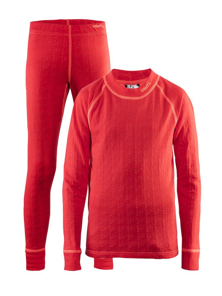 Термобелье комплект детский: брюки, кофта Craft Nordic Wool, цвет: красный. 1905356/452801. Размер 86/921905356/452801Мягкий комплект из мериносовой шерсти, полиэстера и полиамида для оптимальной теплорегуляции.