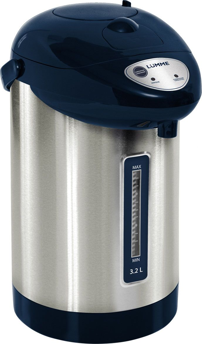 Lumme LU-298, Blue Sapphire термопотLU-2983,2-литровый термопот Lumme LU-298 с ручным насосом для безопасной подачи кипятка и функцией повторного кипячения.Два режима работы - автокипячение и поддержание температуры позволяют использовать термопот с наименьшими энергозатратами, при этомтеплая вода или кипяток остаются всегда под рукой.Благодаря корпусу из высококачественной пищевой нержавеющей стали и закрытому нагревательному элементу термопот обладаетзначительной прочностью и экологически чист - нержавеющая сталь не имеет запаха и сохраняет природные натуральные свойства воды. Шкалауровня воды на корпусе позволяет легко определить необходимость наполнения термопота водой, а LED-индикаторы режимов работы -проконтролировать его состояние.Термопот оснащен такими функциями безопасности как автоматическое отключение при закипании и отключение при недостаточном количествеводы.Плоское дно термопота с закрытым нагревательным элементом очень функционально - легко моется, противостоит накипи, не ржавеет, неподвержено коррозии, а значит, обеспечивает термопоту максимально долгий срок службы.
