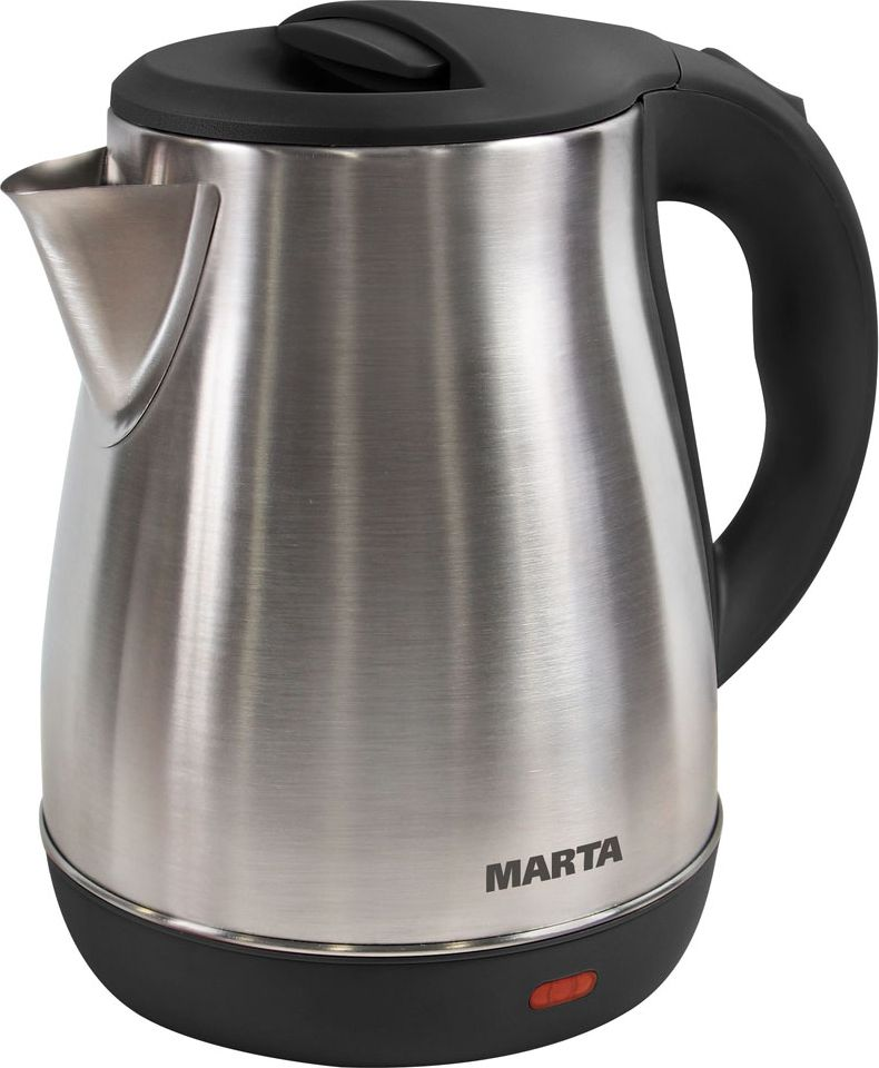 Marta MT-1091, Black Pearl чайник электрическийMT-1091Чайник Marta MT-1091 в корпусе из нержавеющей стали имеет самый длительный срок службы, ударо- и жаропрочен, а также идеально впишется в интерьер кухни, особенно в случае, если вся кухонная техника оформлена в цвете металлик. Нержавеющая сталь не имеет запаха и сохраняет все природные натуральные свойства воды.Плоское дно внутри чайника очень функционально - легко моется, противостоит накипи, не ржавеет, не корродирует, а значит, обеспечивает максимально долгий срок службы чайника.Крайне важная и быстро ставшая привычной функция, обеспечивающая исключительное удобство и безопасность на любой кухне. Чайник можно снимать и ставить на базу с любой стороны без каких-либо усилий и риска обжечься.Автоматическое отключение при закипании или недостаточном количестве воды обезопасит чайник от преждевременного выхода из строя. Вы сможете доверить управление чайником даже ребенку.