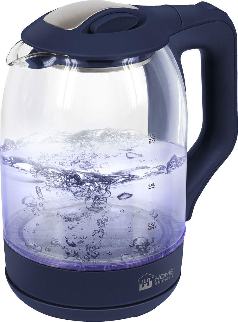 Home Element HE-KT181, Blue Sapphire чайник электрическийHE-KT181Home Element HE-KT181 - легкий и прочный стеклянный чайник с голубой внутренней подсветкой в стильном прозрачном корпусе иззакаленного стекла.Качественное стекло сохраняет природный вкус и все натуральные свойства воды, не выделяя примесей.Двухлитровый чайник имеет повышенную мощность 1.8 кВт для самого быстрого закипания воды и закрытыйнагревательный элемент для противостояния накипи и легкости ухода.Вращение чайника на базе обеспечивает простой доступ к его ручке с любой стороны без опасности обжечься, амногоуровневая система защиты автоматически отключит чайник при готовности кипятка или при недостаточномколичестве воды.Светодиодная подсветка дарит прекрасное настроение игрой света в пузырьках закипающей воды.