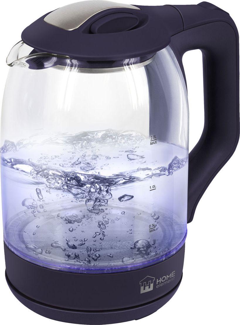 Home Element HE-KT181, Dark Topaz чайник электрическийHE-KT181Home Element HE-KT181 - легкий и прочный стеклянный чайник с голубой внутренней подсветкой в стильном прозрачном корпусе иззакаленного стекла.Качественное стекло сохраняет природный вкус и все натуральные свойства воды, не выделяя примесей.Двухлитровый чайник имеет повышенную мощность 1.8 кВт для самого быстрого закипания воды и закрытыйнагревательный элемент для противостояния накипи и легкости ухода.Вращение чайника на базе обеспечивает простой доступ к его ручке с любой стороны без опасности обжечься, амногоуровневая система защиты автоматически отключит чайник при готовности кипятка или при недостаточномколичестве воды.Светодиодная подсветка дарит прекрасное настроение игрой света в пузырьках закипающей воды.