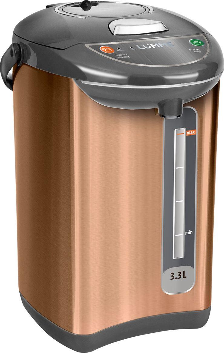 Lumme LU-299, Bronze термопотLU-299Lumme LU-299 - 3,3-литровый термопот с электрическим насосом для безопасной подачи кипятка и с функциейповторногокипячения. Три режима работы – автокипячение, поддержание температуры и повторное кипячение позволяют использоватьтермопот с наименьшими энергозатратами, при этом теплая вода или кипяток остаются всегда под рукой. Благодаря корпусу из высококачественной пищевой нержавеющей стали и закрытому нагревательному элементутермопот обладает значительной прочностью и экологически чист - нержавеющая сталь не имеет запаха исохраняет природные натуральные свойства воды. Шкала уровня воды на корпусе позволяет легко определить необходимость наполнения термопота водой, а LED- индикаторы режимов работы – проконтролировать его состояние. Термопот оснащен такими функциями безопасности как автоматическое отключение при закипании иотключение при недостаточном количестве воды. Плоское дно термопота с закрытым нагревательным элементом очень функционально – легко моется,противостоит накипи, не ржавеет, не подвержено коррозии, а значит, обеспечивает термопоту максимальнодолгий срок службы.