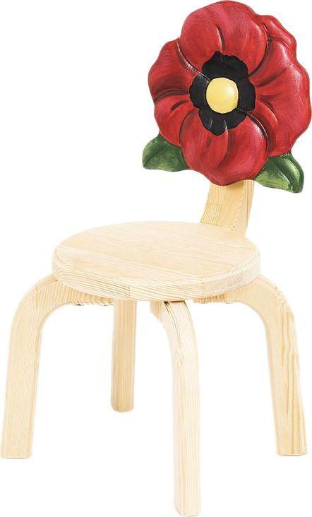 Крошка.RU Цветочек Стул детский Мак цвет дерево32602Подарите вашему ребенку возможность погулять среди цветочного поля даже дома. Стул Мак из серии детской мебели Цветочек выполнен из массива сосны. Для обработки дерева используется лак НЦ. Нежный стульчик для нежного ребенка.