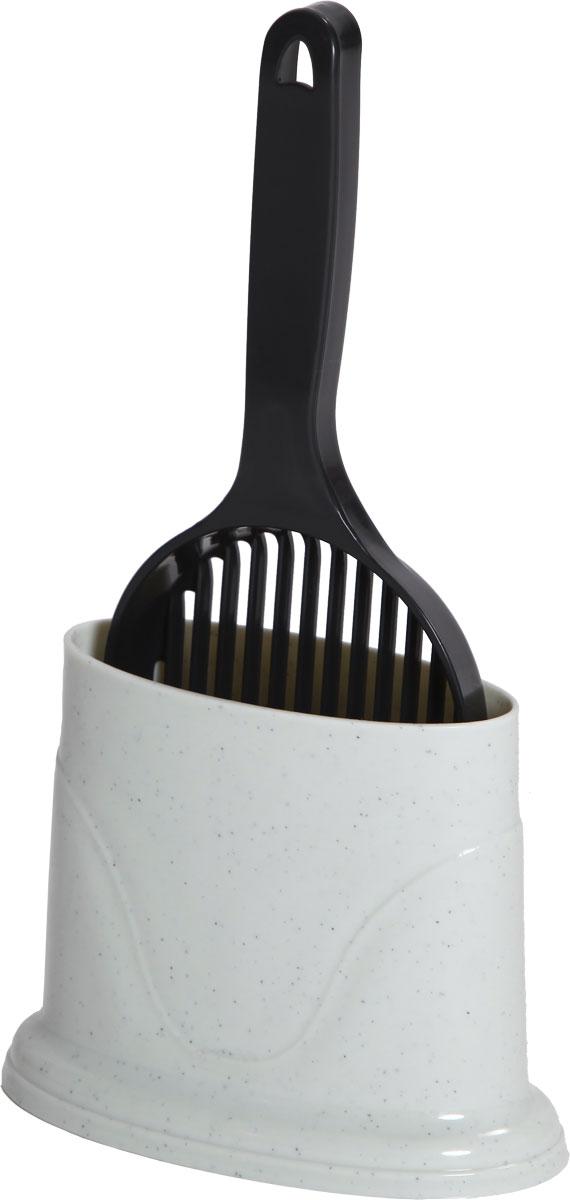 Совок для кошачьего туалета, с держателем, цвет: молочный, черныйCAT-S2 BlackСовок пригодится вам для быстрой и аккуратной уборки наполнителя из кошачьего туалета. Оснащенный решеткой, совок отделит грязное содержимое лотка от чистого. Выполнен из прочного материала и имеет удобную конструкцию. Его легко мыть.Изделие дополнено удобным держателем. Размер совка: 12,3 х 34 см. Размер держателя: 14,5 x 18,5 x 10 см.