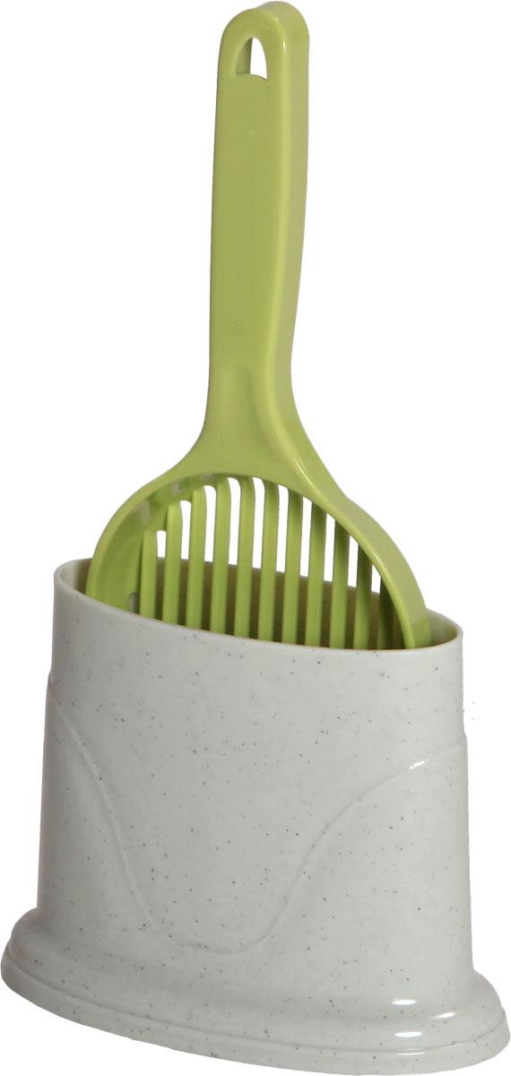 Совок для кошачьего туалета, с держателем, цвет: молочный, оливковыйCAT-S2 GreenСовок пригодится вам для быстрой и аккуратной уборки наполнителя из кошачьего туалета. Оснащенный решеткой, совок отделит грязное содержимое лотка от чистого. Выполнен из прочного материала и имеет удобную конструкцию. Его легко мыть.Изделие дополнено удобным держателем. Размер совка: 12,3 х 34 см. Размер держателя: 14,5 x 18,5 x 10 см.