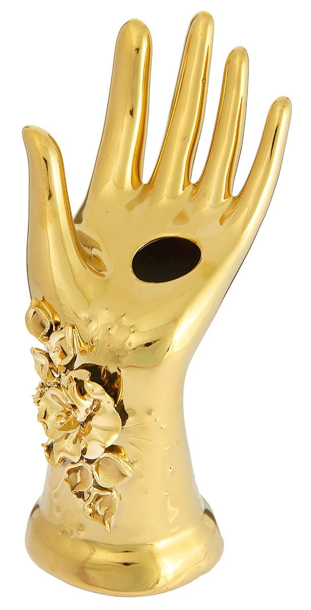 Подсвечник Керамика ручной работы Рука, цвет: золотистый, 13 х 10 х 22 см1235183Известно, что на пламя можно смотреть вечно: его мягкое золотистое сияние чарует и проясняет сознание. Огонь, льющийся из подсвечника, притягивает наше внимание еще больше. Такой дуэт делает атмосферу загадочной и романтичной.