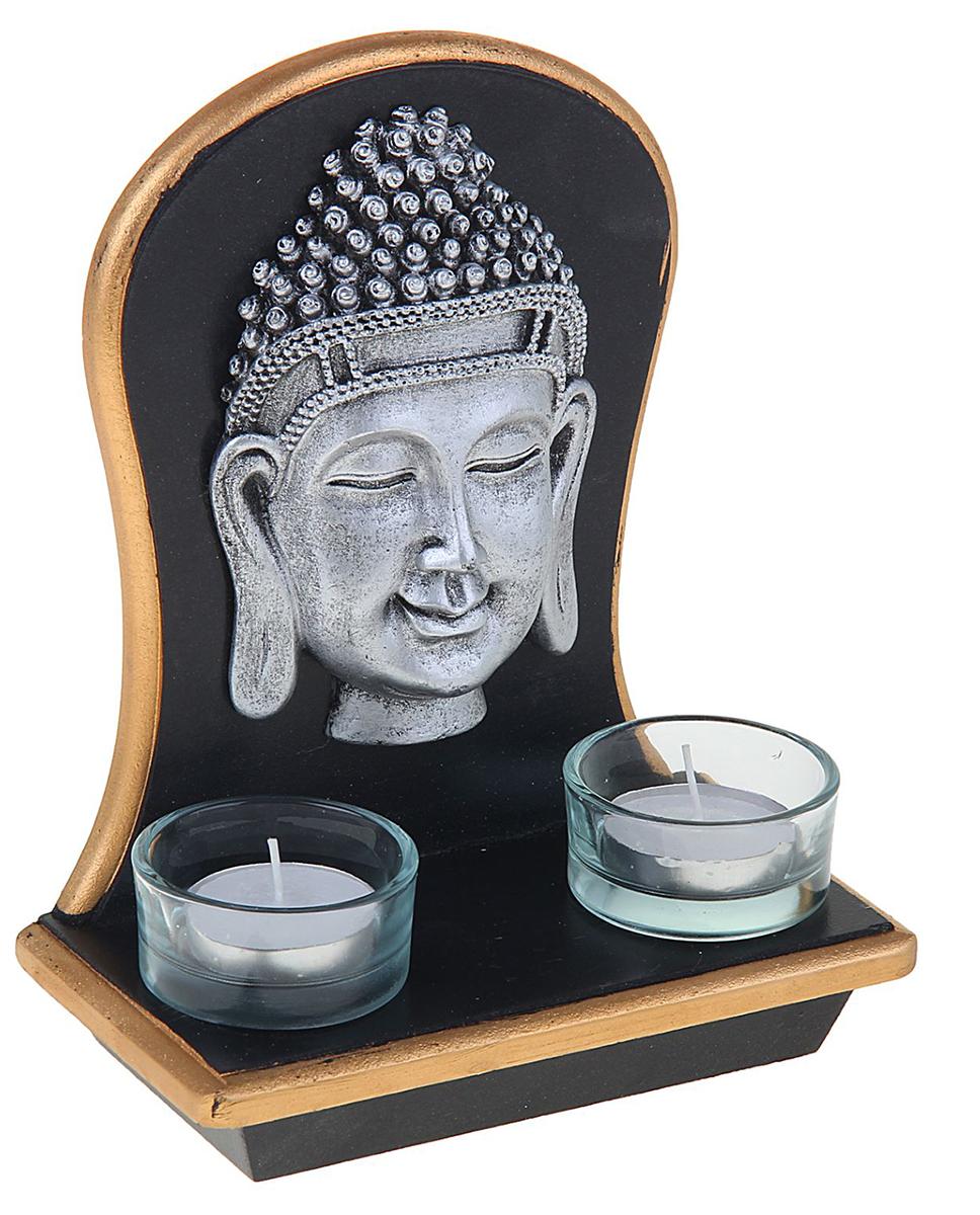 Подсвечник Будда, с 2 свечами, цвет: черный, серый, 17 х 8,5 х 15 см1261874Перед вами подсвечник, который отлично впишется в интерьер в колониальном или восточном стиле. В него помещается 1 чайная свеча.