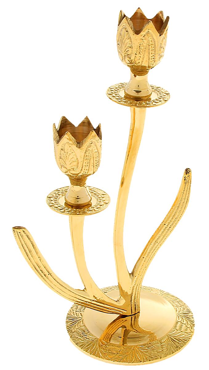 Подсвечник Тюльпаны, на 2 свечи, цвет: золотистый, 15 х 15 х 24 см841220Подсвечник на 2 свечи Тюльпаны словно настоящий королевский аксессуар, который недавно стоял в огромном коридоре большого царского замка. Его блеск переливается в лучах света, хочется прикоснуться к нему или даже взять в руки, чтобы ощутить тяжесть латуни и нежные изгибы подсвечника. Такой грациозный предмет станет актуальным подарком на семилетнюю годовщину свадьбы, юбилей, 8 Марта и любой другой праздник. Подсвечник, который подчеркнет Ваш безупречный вкус!