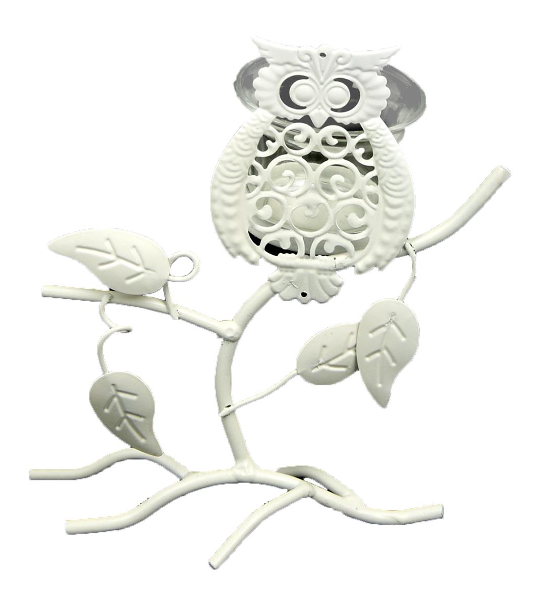Подсвечник Ажурная сова на дереве, цвет: белый, 9 х 15 х 18 см1902310Изысканный подсвечник станет превосходным подарком и украшением интерьера. Он будет радовать вас и ваших близких, как только вы зажжете свечу. Изделие отлично смотрится на журнальном столике или полочке с книгами.