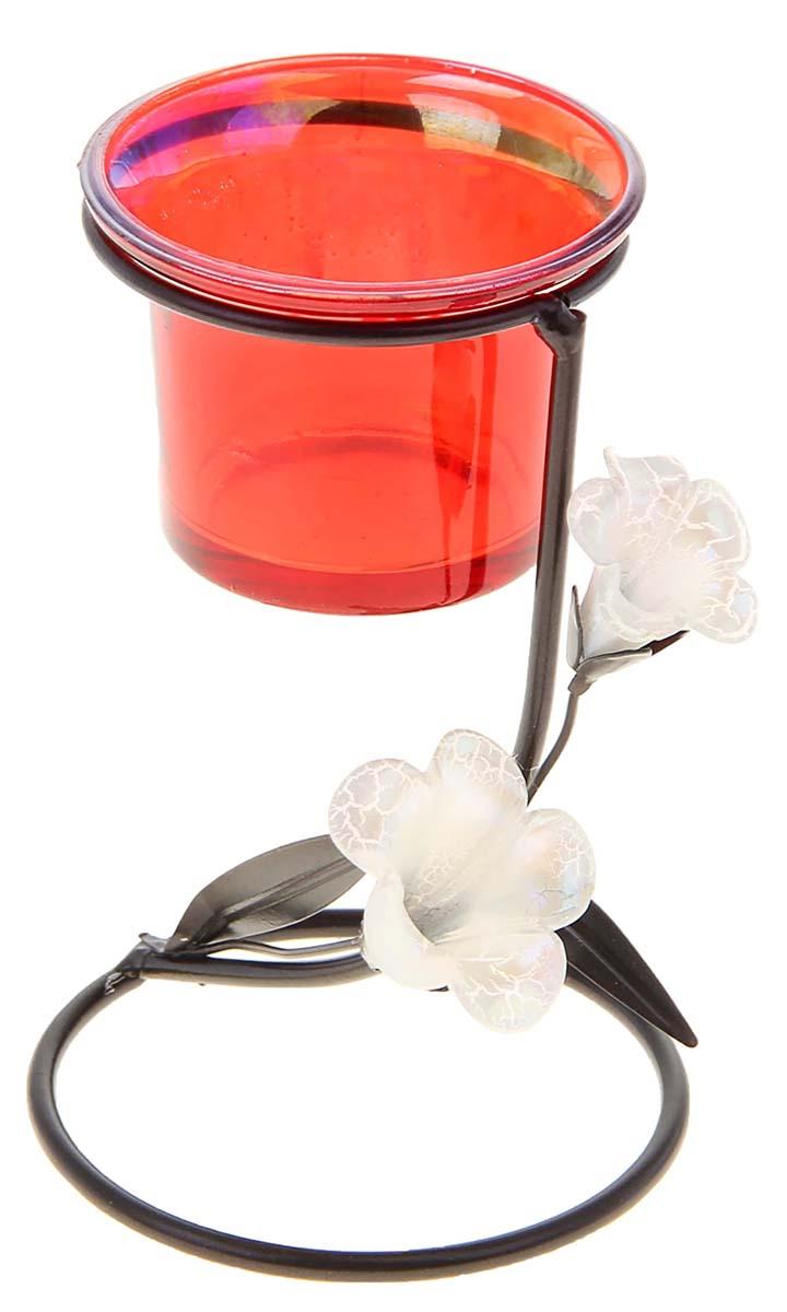все цены на Подсвечник Белые цветы, цвет: прозрачный, красный, 8 х 8 х 12,3 см
