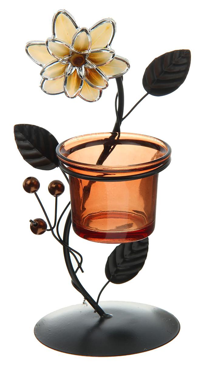 Подсвечник Цветок и бусины, цвет: темно-коричневый, бронзовый, 8,5 х 8,5 х 19,5 см2260908Невозможно представить нашу жизнь без праздников! Мы всегда ждем их и предвкушаем, обдумываем, как проведем памятный день, тщательно выбираем подарки и аксессуары, ведь именно они создают и поддерживают торжественный настрой. — это отличный выбор, который привнесет атмосферу праздника в ваш дом!Известно, что на пламя можно смотреть вечно: его мягкое золотистое сияние проясняет сознание и чарует. Огонь свечи притягивает наше внимание еще больше. Он делает атмосферу загадочной и романтичной.
