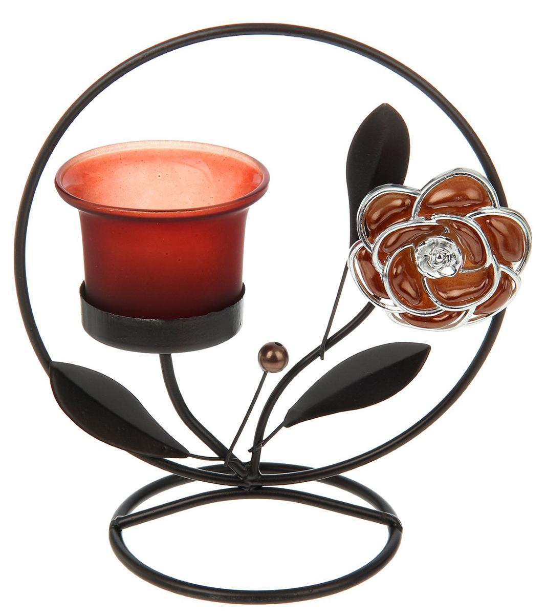 Подсвечник цветок с жемчужиной в круге, цвет: кофейный, красный, 9 х 15,5 х 17 см456027Невозможно представить нашу жизнь без праздников! Мы всегда ждем их и предвкушаем, обдумываем, как проведем памятный день, тщательно выбираем подарки и аксессуары, ведь именно они создают и поддерживают торжественный настрой. — это отличный выбор, который привнесет атмосферу праздника в ваш дом!Известно, что на пламя можно смотреть вечно: его мягкое золотистое сияние проясняет сознание и чарует. Огонь свечи притягивает наше внимание еще больше. Он делает атмосферу загадочной и романтичной.