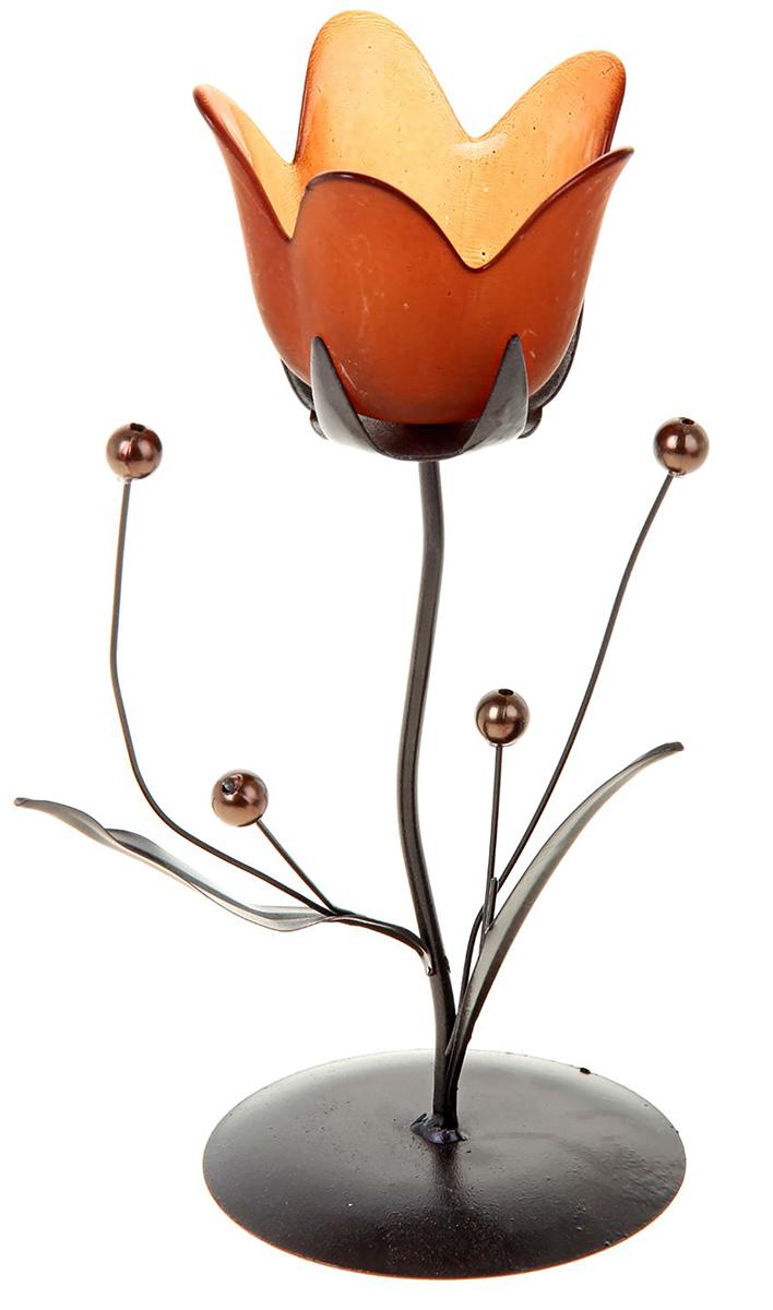 Подсвечник Колокольчик с бусинками, цвет: кофейный, оранжевый, 9 х 9 х 21 см418950Изысканный подсвечник станет превосходным подарком и украшением интерьера. Он будет радовать вас и ваших близких, как только вы зажжете свечу. Изделие отлично смотрится на журнальном столике или полочке с книгами.