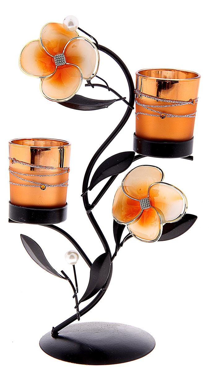 Подсвечник Карамельное чудо, цвет: темно-коричневый, прозрачный, оранжевый, 14,5 х 10 х 23,5 см764508Изысканный подсвечник станет превосходным подарком и украшением интерьера. Он будет радовать вас и ваших близких, как только вы зажжете свечу. Изделие отлично смотрится на журнальном столике или полочке с книгами.