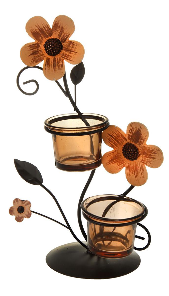 Подсвечник Полевой цветок, цвет: темно-коричневый, прозрачный, бронзовый, 9,8 х 15,5 х 25,5 см1200188Изысканный подсвечник станет превосходным подарком и украшением интерьера. Он будет радовать вас и ваших близких, как только вы зажжете свечу. Изделие отлично смотрится на журнальном столике или полочке с книгами.