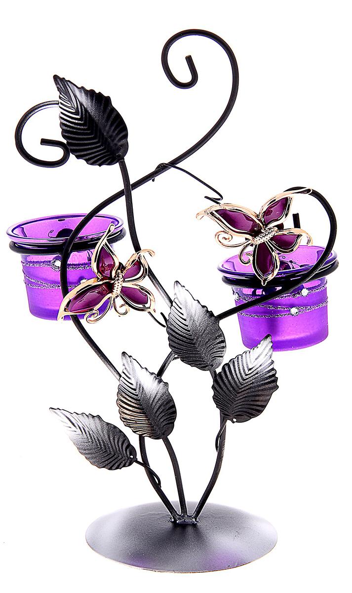 Подсвечник Полет бабочек, цвет: сиреневый, 23 х 8 х 30 см764498Изысканный подсвечник станет превосходным подарком и украшением интерьера. Он будет радовать вас и ваших близких, как только вы зажжете свечу. Изделие отлично смотрится на журнальном столике или полочке с книгами.