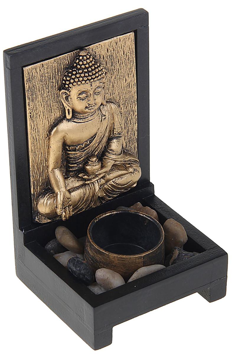 Подсвечник Sima-Land Благословение, цвет: темно-коричневый, бронзовый, 15,5 х 9,5 х 9 см1258235Перед вами подсвечник, который отлично впишется в интерьер в колониальном или восточном стиле. В него помещается 1 чайная свеча.