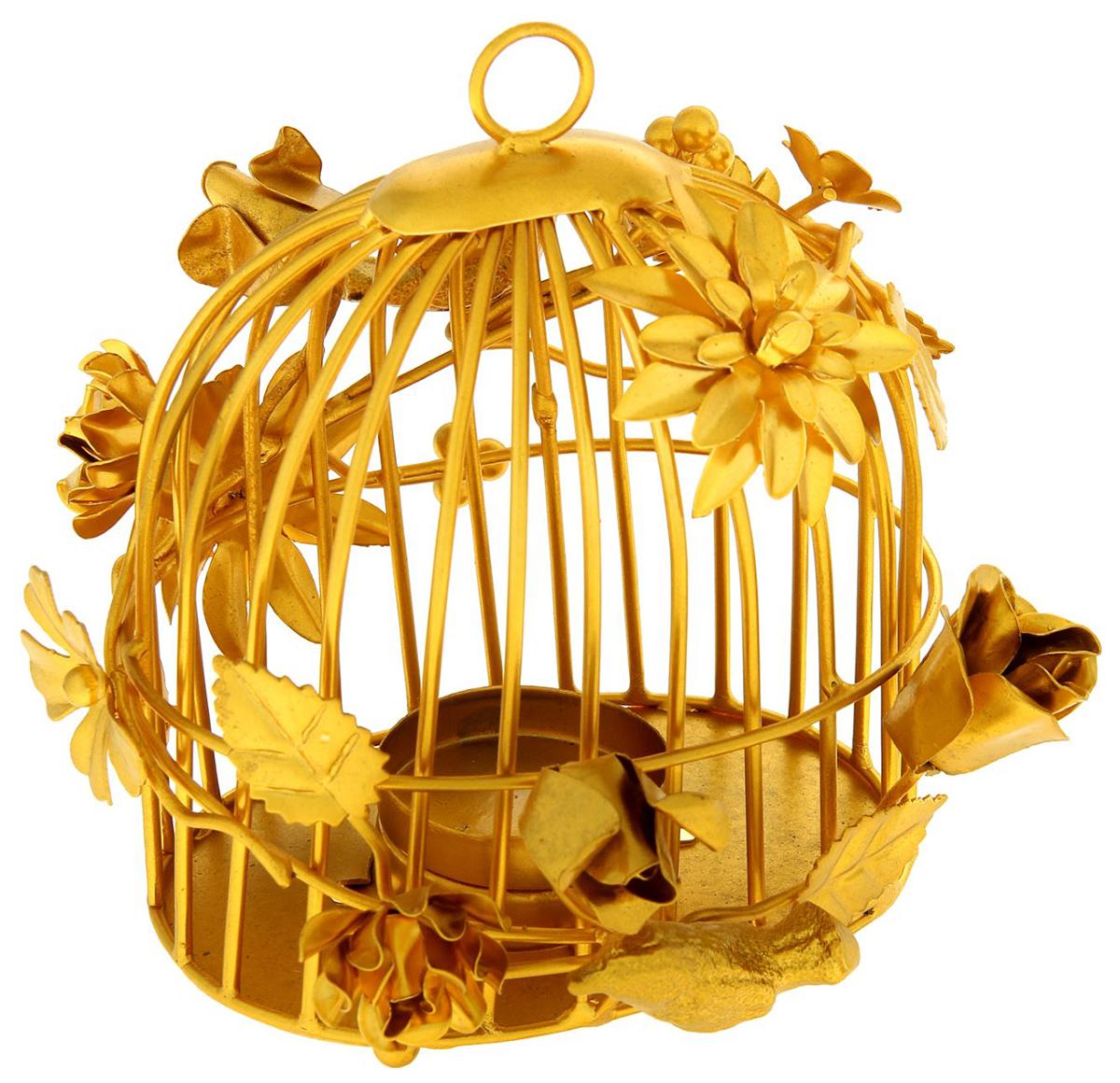 Подсвечник Золотая клетка, цвет: золотистый, 14 х 11 х 14 см484146Прекрасный Подсвечник на 1 свечу Золотая клетка выполнен из металла и напоминает изысканную кованую композицию. Вы только посмотрите на эти нежные изгибы, утонченные линии грациозных лепестков... Все это кажется таким легким и воздушным. Хотя если взять этот невероятный подсвечник в руки, то Вы наверняка почувствуете тяжесть металла.Поставьте этот прелестный аксессуар в гостином зале, каминной комнате, личном кабинете своего офиса или же в спальне. Зажгите свечи и Вы увидите живописные тени в полумраке комнаты. Насладитесь приятной обстановкой после тяжелого рабочего дня или устройте романтический ужин при свечах со своей второй половинкой.