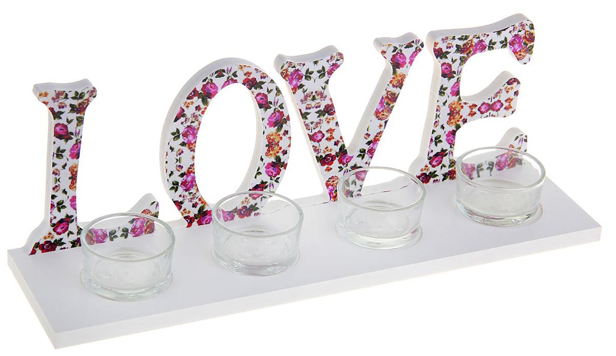 Подсвечник Love, цвет: белый, розовый, 8 х 30 х 10 см1200214Зажженная свеча в подставке сделает атмосферу таинственной и романтической. Особенно если она выполнена из благородного материала — дерева.