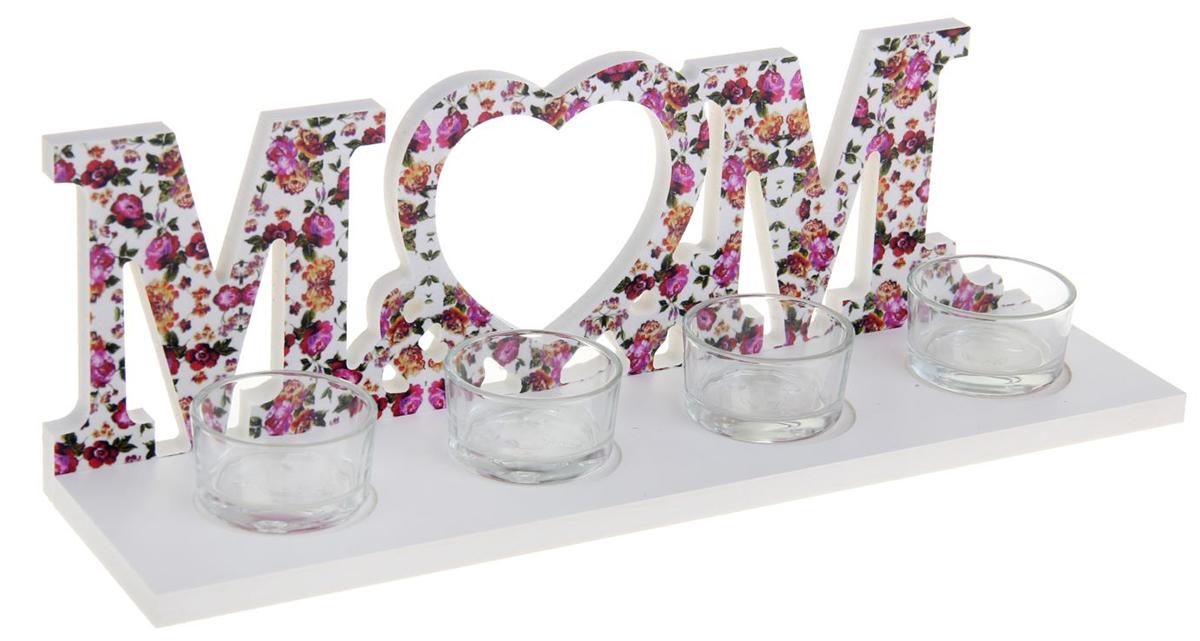 Подсвечник Mr&Ms, цвет: белый, розовый, 8 х 30 х 10 см1200213Зажженная свеча в подставке сделает атмосферу таинственной и романтической. Особенно если она выполнена из благородного материала — дерева.