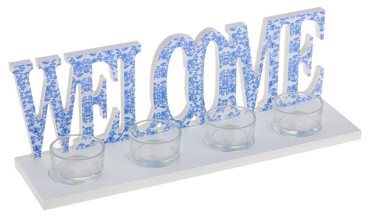 Подсвечник Welcome, цвет: белый, голубой, 8 х 30 х 10 см1200215Зажженная свеча в подставке сделает атмосферу таинственной и романтической. Особенно если она выполнена из благородного материала — дерева.