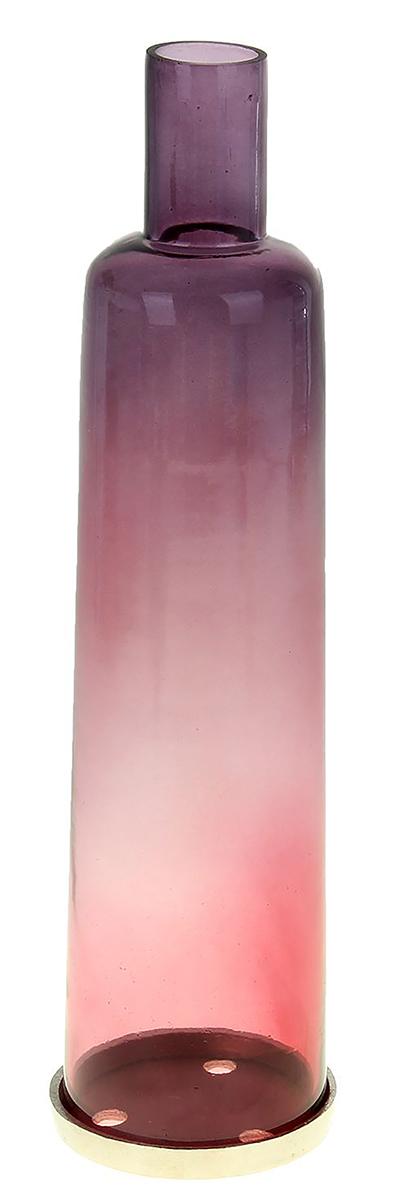 Подсвечник Магия, цвет: фиолетовый, 10 х 10 х 40 см1044312Прекрасный Подсвечник Магия в форме бутылки выполнен из высококлассного стекла. Мастера-ремесленники удивили этим необычным дизайном. Гладя на него, задаешься вопросом: «Как же это работает?». Но стоит взять в руки это чудо-изделие, сразу понимаешь что делать дальше. Оригинальная цветовая гамма, обтекаемая форма буквально завораживают. Украсьте подобными подсвечниками каминный зал или гостиную.