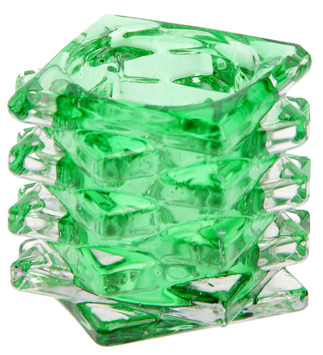 Подсвечник Пятый элемент, цвет: прозрачный, зеленый, 7 х 7 х 5 см1653715Современные производители в изготовлении подсвечников чаще используют цветное стекло. Стекло самое нетребовательное в уходе, изделие из него достаточно промыть в теплой воде с добавлением моющего средства. Стеклянный подсвечник чаще имеет форму стакана, используют его для размещения греющей свечи.