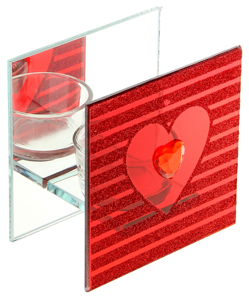 Подсвечник Сердце, цвет: прозрачный, красный, 6,2 х 10 х 10 см986032Известно, что на пламя можно смотреть вечно: его мягкое золотистое сияние чарует и проясняет сознание. Огонь, который льется лучистым светом из подсвечника, притягивает наше внимание еще больше. Такой дуэт делает атмосферу загадочной и романтичной.