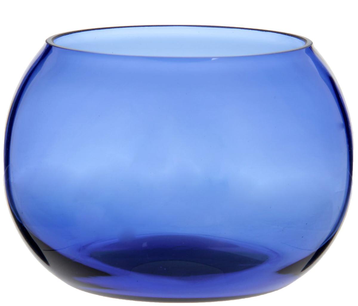 Подсвечник, цвет: синий, 10 х 10 х 7 см. 16630681663068Огонь всегда являлся символом тепла и спокойствия, поэтому изысканный Подсвечник без декора, круглый, синий станет прекрасным подарком и украшением любого интерьера. Он будет радовать вас и ваших близких каждый вечер. Изделие отлично смотрится на журнальном столике или на полочке с книгами, обращает на себя внимание своими изящностью и лаконичностью, а пламя внутри него заворожит вас игрой.