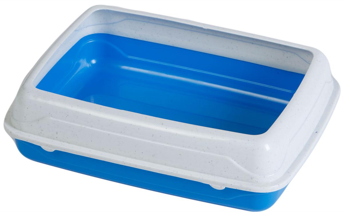 Туалет для кошек, с бортом, цвет: синий, молочный, 47 x 39 x 15 см. CAT-L18 Blue