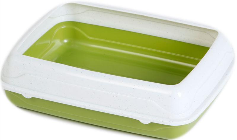 Туалет для кошек, с бортом, цвет: оливковый, молочный, 47 x 39 x 15 см. CAT-L18 Oliver Green