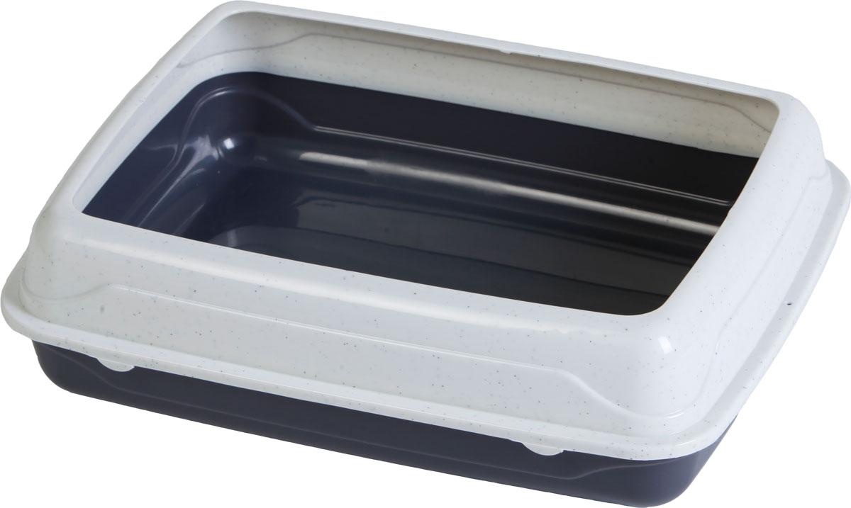 Туалет для кошек, с бортом, цвет: серый, молочный, 47 x 39 x 15 см. CAT-L18 Grey