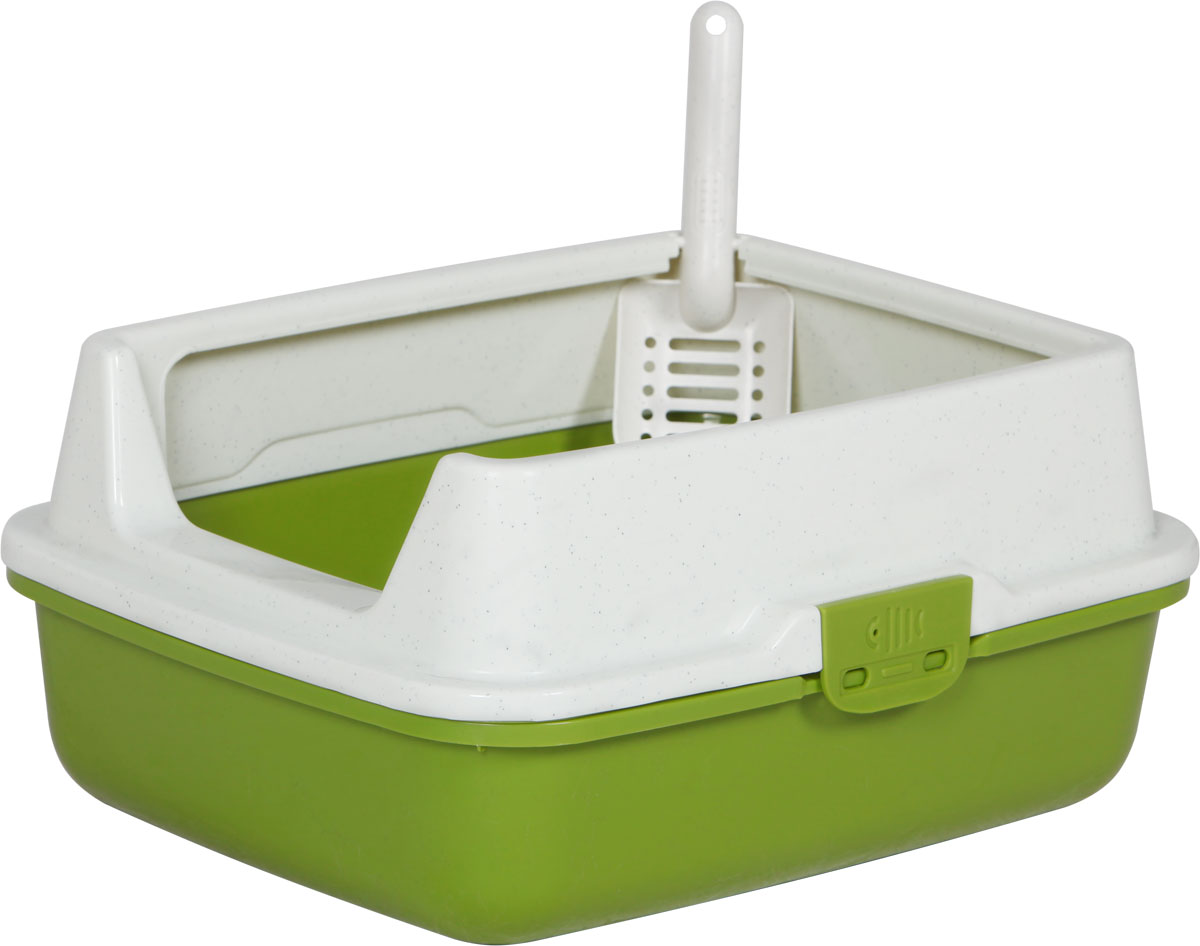 Туалет для кошек, с бортом и сеткой, цвет: оливковый, молочный, 50 x 40 x 23 см. CAT-L29 Oliver Green