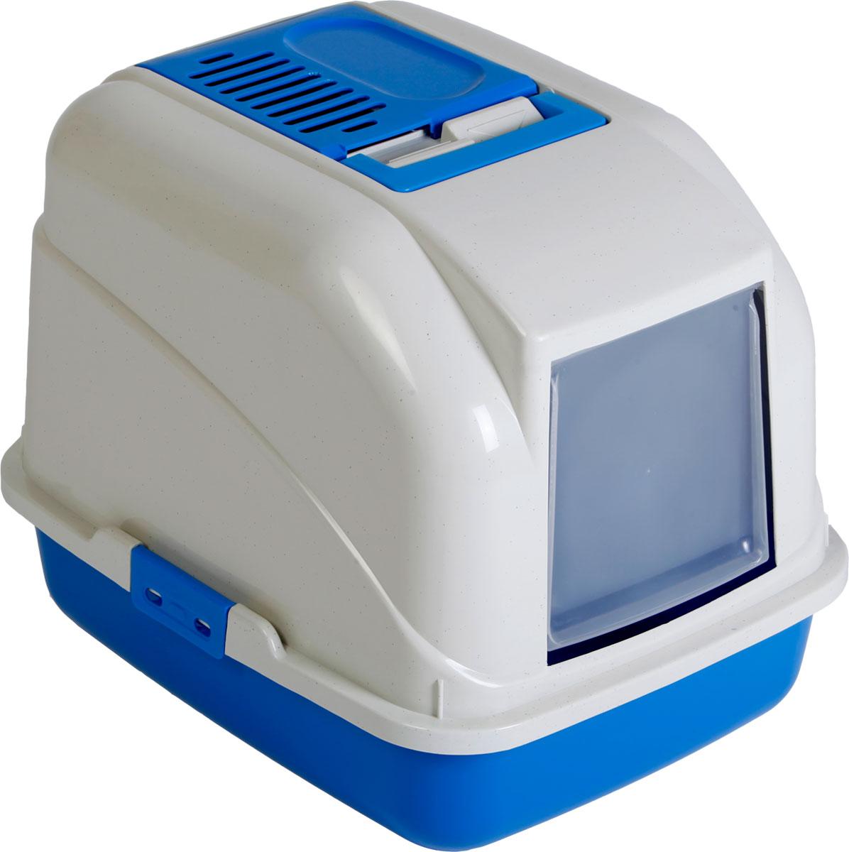 Туалет-лоток для кошек, цвет: синий, молочный, 50 x 40 x 40 см. CAT-L01 BlueCAT-L01 BlueТуалет-лоток для кошек удерживает неприятные запахи, предотвращает рассыпание наполнителя. Изготовлен из высококачественного пластика, легко моется и не впитывает запахи. Специально разработанная верхняя крышка, облегчает уборку туалета.Благодаря открывающейся фронтальной дверце ваш питомец быстро и удобно попадет в такой туалет-домик.Внутреннее отделение представляет собой глубокий отсек, в котором поместится ваш любимец.Укомплектовано такое изделие фильтром, а также совком, который выполнен с дополнительными отверстиями.Преимущества закрытого туалета очевидны: меньше распространяются неприятные запахи, наполнитель не рассыпается вокруг туалета (особенно актуально для кошек, которые любят покопаться в наполнителе);идеально подходит для кошек, которые любят долго и упорно зарывать, используя при этом не только наполнитель, но и все, что попадет под лапу.Туалет-лоток удобно переносить с помощью верхней пластиковой ручки.