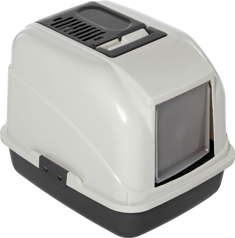 купить Туалет-лоток для кошек, цвет: серый, молочный, 50 x 40 x 40 см. CAT-L01 Grey по цене 880 рублей