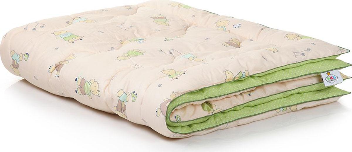Belashoff Kids Одеяло детское Наша Умничка цвет бежевый зеленый 110 x 140 смКЛО2Коллекция Наша Умничка – разнообразные продукты для ярких детских снов!Снаружи – хлопковая ткань с забавными рисунками нежных расцветок. Ткань с подобранным компаньоном делают принадлежности для сна веселыми и красивыми. Для самых красочных и радостных детских снов.Внутри – Лебяжий пух – наполнитель из тончайшего силиконизированного микроволокна высокого качества. Он нежный, мягкий и упругий одновременно. Безопасен для детей и не вызывает аллергии.