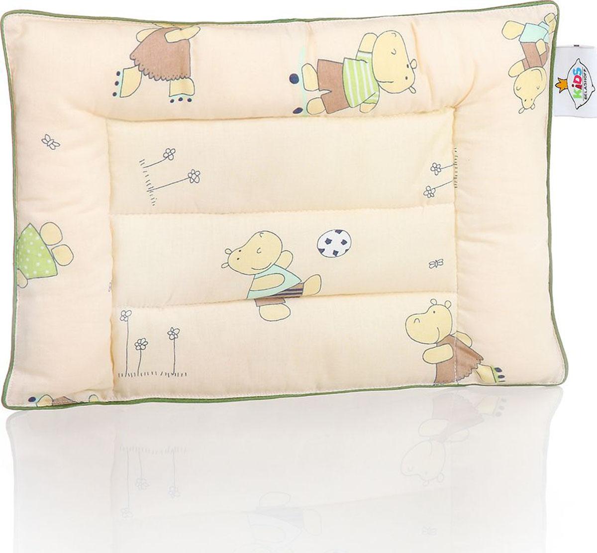 Belashoff Kids Подушка детская Наша Умничка цвет бежевый зеленый 28 x 43 смКЛП3Коллекция Наша Умничка – разнообразные продукты для ярких детских снов!Снаружи – хлопковая ткань с забавными рисунками нежных расцветок. Ткань с подобранным компаньоном делают принадлежности для сна веселыми и красивыми. Для самых красочных и радостных детских снов.Внутри – Лебяжий пух – наполнитель из тончайшего силиконизированного микроволокна высокого качества. Он нежный, мягкий и упругий одновременно. Безопасен для детей и не вызывает аллергии.Эта подушка замечательно подходит для детской кроватки.Небольшая толщина и упругость этой подушки позволяют использовать ее с самого раннего возраста.
