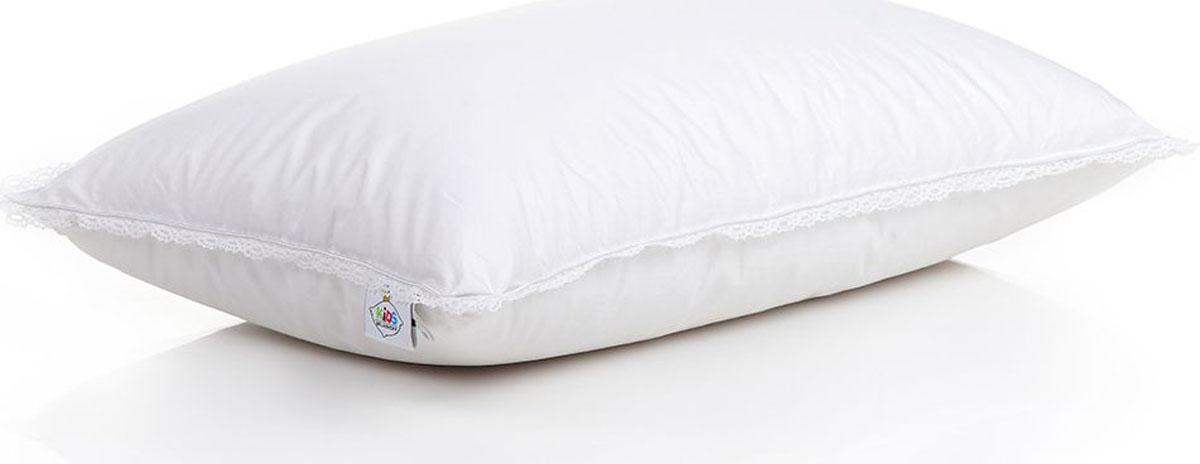 Belashoff Kids Подушка детская Наше Счастье цвет белый 40 x 60 смКПП2Коллекция Наше Счастье – восхитительное решение для безмятежного детского сна!Внутри – высококачественный сибирский гусиный пух, белые пушинки которого тщательно отобраны и обработаны. Сверху – белоснежный батист, 100% хлопковая ткань высочайшего качества. Нежное кружево придает подушкам и одеялам изящность и восхитительную роскошь.