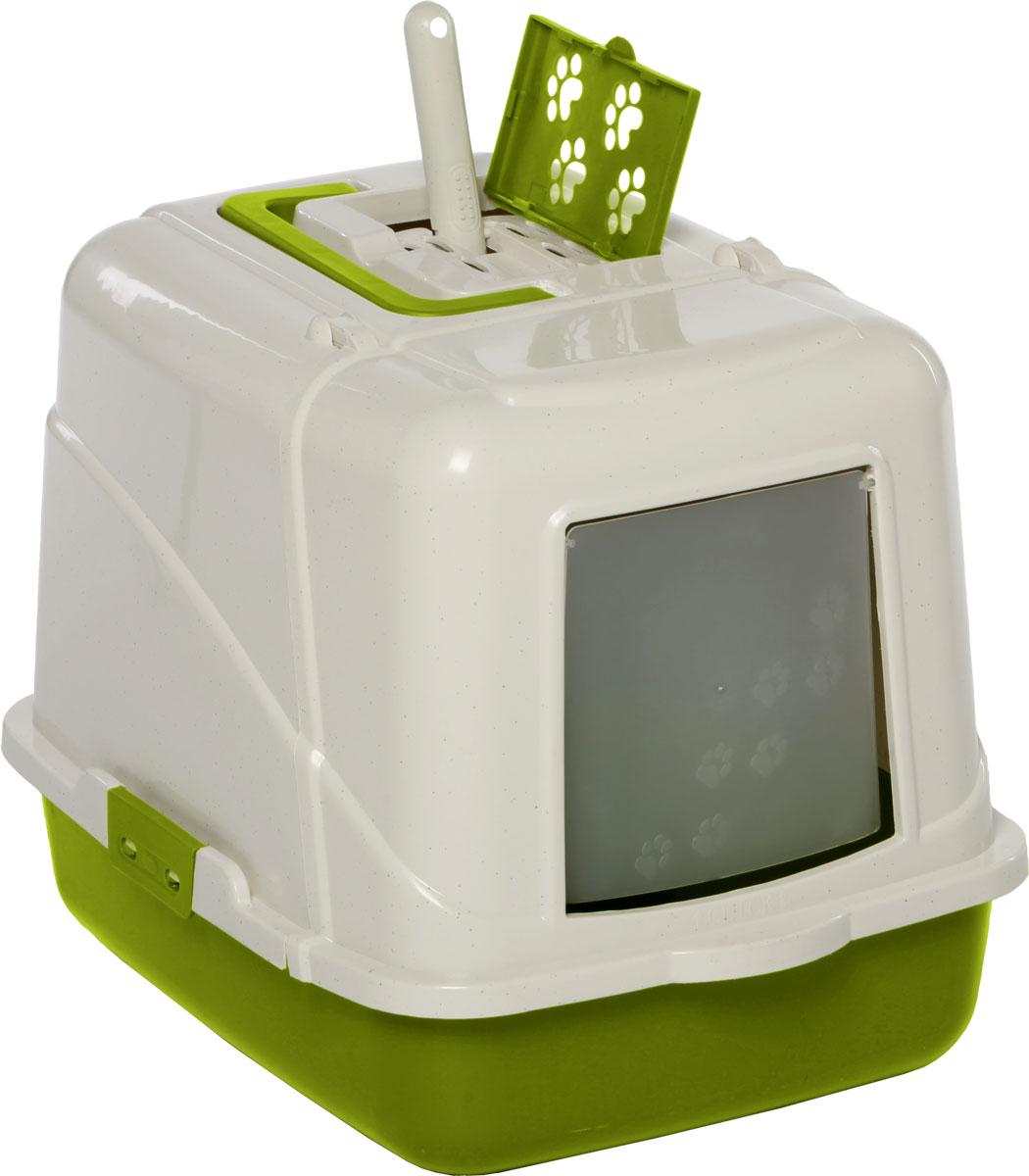 Туалет-лоток для кошек, цвет: оливковый, молочный, 50 x 40 x 41см. CAT-L08 Oliver GreenCAT-L08 Oliver GreenТуалет-лоток для кошек удерживает неприятные запахи, предотвращает рассыпание наполнителя. Изготовлен из высококачественного пластика, легко моется и не впитывает запахи. Специально разработанная верхняя крышка, облегчает уборку туалета.Благодаря открывающейся фронтальной дверце ваш питомец быстро и удобно попадет в такой туалет-домик.Внутреннее отделение представляет собой глубокий отсек, в котором поместится ваш любимец.Укомплектовано такое изделие фильтром, а также совком, который выполнен с дополнительными отверстиями.Преимущества закрытого туалета очевидны: меньше распространяются неприятные запахи, наполнитель не рассыпается вокруг туалета (особенно актуально для кошек, которые любят покопаться в наполнителе);идеально подходит для кошек, которые любят долго и упорно зарывать, используя при этом не только наполнитель, но и все, что попадет под лапу.Туалет-лоток удобно переносить с помощью верхней пластиковой ручки.